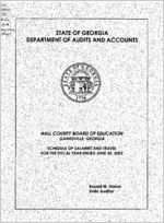 Hall County Board of Education, Gainesville, Georgia, schedule of salaries and travel, year ended June 30, 2002