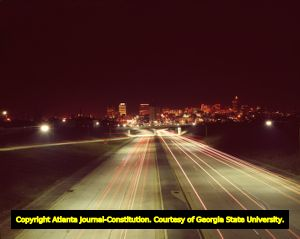 Time-lapse night photo of downtown Atlanta, looking south from the Downtown Connector, Atlanta, Georgia, October, 1964